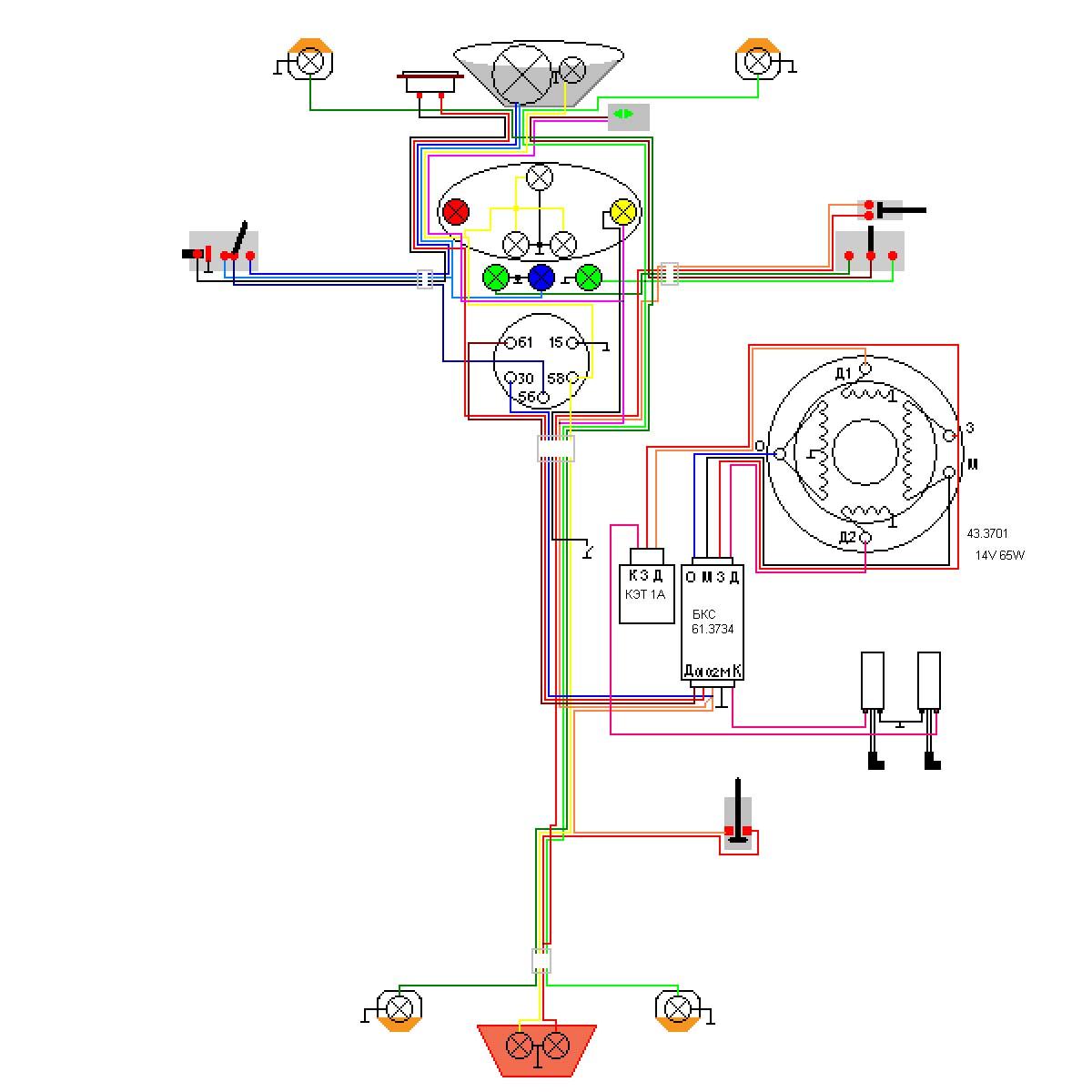 схема монтажелектропроводки зубр 195